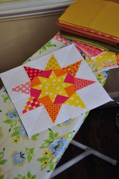 "Love this block.  It is from the book ""Mariner's Compass Stars"" by Carol Doak. Fun & bright for a girl"