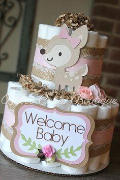 2 Tier Pink Deer Woodland Diaper Cake Girl Woodland Baby
