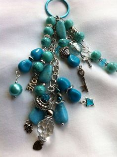 Turquoise, blue beads, silver chain key chain  on Etsy, $15.00