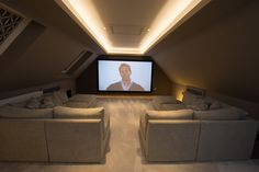 We can do amazing things with loft spaces! Cinema Room Small, Home Cinema Room, Attic Movie Rooms, Attic Rooms, Attic Spaces, Home Theater Room Design, Attic Design, Home Theater Rooms, Attic Theater