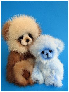 Brown panda made from recycled mink fur and a blue ermine bear.#teddy #bear