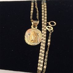 14k Yellow Rose Gold Religious Virgin Mary Charm Pendant Gucci Chain style by RG&D