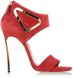 Casadei Red Suede Metal Heel Sandals €750 Spring Summer 2014 #Shoes #Heels
