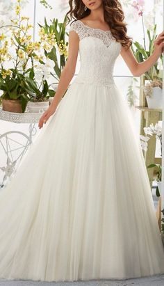 This Gorgeous Lace Wedding Dress provide an elegant sweetheart a line design decorate with distinct appliques and cap sleeves. It's your best option to experience a wedding ceremony that you'll cherish for your whole life. More at http://www.cutedresses.co/product/simple-long-a-line-cap-sleeve-train-lace-wedding-dresses/