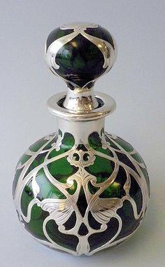 Art Nouveau American Perfume Bottle - c. 1905 - by Gorham Mfg. Corp. - Green Glass and Sterling Silver - Nelson & Nelson Antiques, Inc.