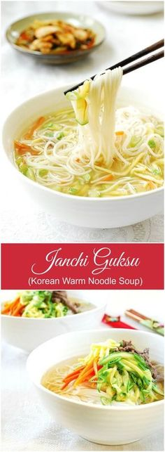 "Janchi Guksu (Korean Warm Noodle Soup) – Korean Bapsang Janchi guksu, translated into ""banquet/feast noodles,"" is a simple warm noodle dish that is made with a clear anchovy or beef broth. Korean Noodles, Healthy Meals, Healthy Recipes, Yummy Recipes, Recipes Dinner, Healthy Food, Korean Kitchen, K Food, Korean Dishes"