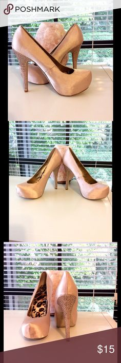 Stepping In Style! Rhinestone Heels! Good Condition. Light Pink Satin Shoe W/Rhinestones Covering The Heels. Extremely Elegant!! Shoes Heels