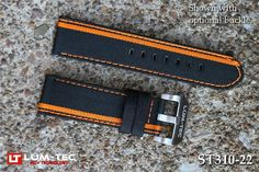 Lum-Tec Watches 24Mm 480 Racing Stripe Orange Canvass Strap Buckle Not Included