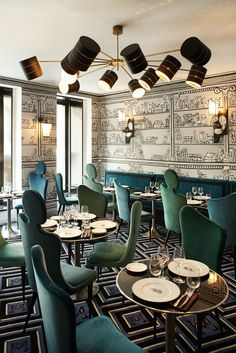 The restaurant, Le Gauche Cavier, at Paris's Hotel Montana has a Russian-inspire. The restaurant, Le Gauche Cavier, at Paris's Hotel Montana has a Russian-inspired menu and chairs by Maison Darré. Design Hotel, Design Bar Restaurant, Deco Restaurant, Luxury Restaurant, Restaurant Lighting, Restaurant Chic Paris, Decoration Restaurant, Pub Decor, Best Interior