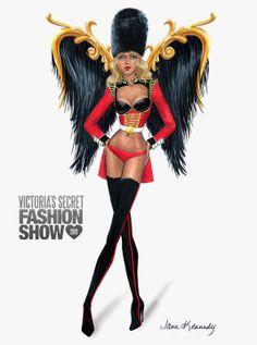 Illustration by Jane Kennedy for the Victoria's Secret Fashion Show 2013, British Invasion www.janelkennedy.com