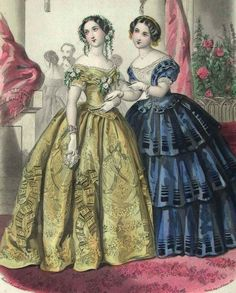 1850. Evening dresses, beautiful shades of blue and yellow.