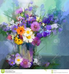 Illustration about Still life a bouquet of flowers. Oil painting daisy flowers in vase. Hand Painted floral in soft color and blurred style green color background. Illustration of flora, light, blur - 53565950 Daisy Painting, Oil Painting Flowers, Abstract Flowers, Watercolor Flowers, Watercolor Art, Flower Paintings, Oil Paintings, Pink And Purple Background, Purple Backgrounds
