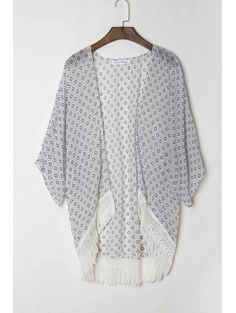 Collarless 3 4 Sleeve Polka Dot Print Kimono #womensfashion #pinterestfashion #buy #fun#fashion