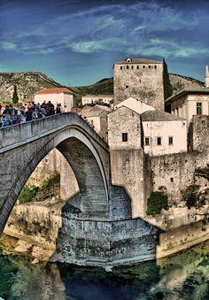Stari Most (Old Bridge) - Mostar, Bosnia and Herzegovina Travel Tours, Travel Destinations, Beautiful Islands, Beautiful Places, Bósnia E Herzegovina, Mostar Bosnia, Places To Travel, Places To Visit, Croatia Travel