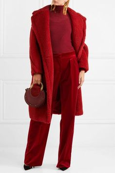 Max Mara: Red cotton-blend velvet Concealed button, hook and zip fastening at front 98% cotton, 2% elastane Dry clean Made in Italy