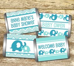 Baby Shower Favors, Baby Shower Themes, Baby Shower Decorations, Baby Shower Invitations, Shower Ideas, Classy Baby Shower, Baby Boy Shower, Mini Hershey Bars, Elephant Baby Showers