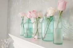 vintage mason jars diy. I keep fresh flowers in an old blue jars in the powder room everyday all year. Just that tiny thing makes a huge impact on the décor.