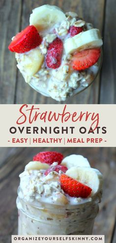 Want to make your mornings easier by having an easy make ahead breakfast already done for you? This strawberry overnight oatmeal recipe is simple healthy full of protein & low calorie. Click through to check out the full recipe! Organize Yourself Skinny Low Calorie Overnight Oats, Strawberry Overnight Oats, Overnight Oats In A Jar, Strawberry Banana, Healthy Low Calorie Breakfast, Easy Healthy Meal Prep, Healthy Breakfasts, Healthy Protein, Eating Healthy