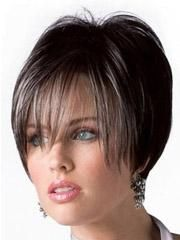 Short With Long Fringe Human Hair Full Lace Wig