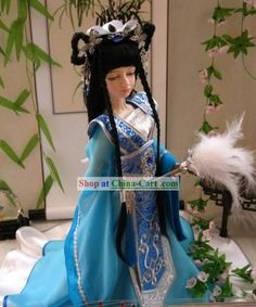 Chinese Gorgeous Light Blue Princess Costumes Complete Set rental set traditional buy purchase on sale shop supplies supply sets equipemnt equipments Chinese Dolls, Princess Costumes, Hanfu, Light Blue, Sari, Princess Zelda, Japan, Toys, Projects