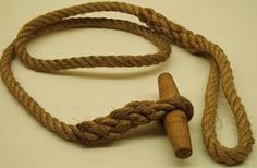 A toggle rope was part of the standard equipment of British Commandos and the Paras during WW2.  It was 6 feet (1.8 m) long, and had a toggle at one end in a tightly fitting eye splice, with a larger eye at the other end. This enabled them to be fastened together to create a rope ladder or use to create a rope bridge among other uses.  It is known that besides the Admiralty Patrol they were also issued to Kingsbarns Patrol in Scotland and used in training at Melville House.
