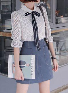 ba-ki) フィールインラブリボンタイレースブラウス【メール便可】 - 韓国ファッション通販【セレクトショップKii-Na】キーナ