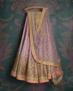 SMF LEH 296 17 | Lavender sequin lehenga with matching sequin dupatta and gold sequin blouse (SOLD)
