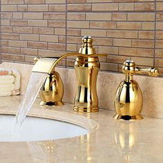 Wovier Gold Polished Waterfall Bathroom Sink Faucet,Two Handle Three Hole Vessel Lavatory Faucet,Widespread Basin Mixer Tap with Pop Up Inch Bathroom Faucet Modern Standing Lamps, Ceiling Lamps Living Room, Led Light Fixtures, Hanging Lamp Fixtures, Kids Room Lighting, Kids Room Lighting Fixture, Rose Gold Lamp, Bathtub Faucet, Pendant Lighting Bedroom
