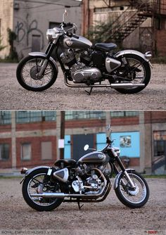 The modern-day Royal Enfield has many charms. But a rumbling exhaust note is not one of them. And nor is the ability to smoke rubber, however gently. Ohio-based Aniket Vardhan has found a solution to this problem. There's no substitute for cubic inches, s Vintage Bikes, Vintage Motorcycles, Custom Motorcycles, Custom Bikes, Vintage Cars, Honda Motorcycles, Enfield Bike, Enfield Motorcycle, Motorcycle Style