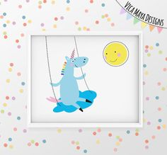Unicorn Art, Unicorn Illustration, Nursery Art, Nursery Printable, Kids Room…