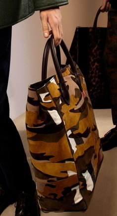 The Carryall in Suede Camouflage and Canvas Check: One of my favourite runway accessories from the Prorsum Menswear A/W15 show