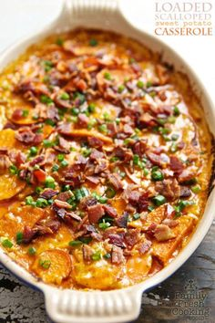 This delicious sweet potato casserole is loaded with everything we love the most. Get the recipe: http://www.countryliving.com/food-drinks/g2627/fall-casserole-recipes/?slide=8