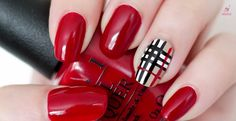 Uñas con estampado de Burberry  - http://xn--decorandouas-jhb.com/unas-con-estampado-de-burberry/