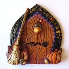 Autumn Acorn Fairy Door, Pixie Portal, Home Decor, Fairy Garden Accessory, Wall Decor, Miniature Tooth Fairy Door, Polymer Clay