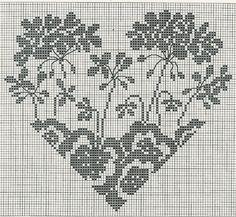 heart cross stitch pattern by Just Cross Stitch, Cross Stitch Heart, Cross Stitch Flowers, Cross Heart, Wedding Cross Stitch Patterns, Cross Stitch Designs, Embroidery Hearts, Cross Stitch Embroidery, Knitting Charts
