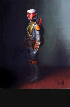 "Jonathan Queen Fine Art, Toy Narrative Paintings - oil-paintings-2003-2008 - Bounty Hunter   5"" x 4"" 2008"