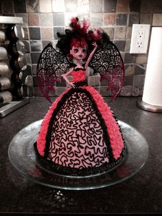 Draculaura cake using a Barbie cake pan and only buttercream.