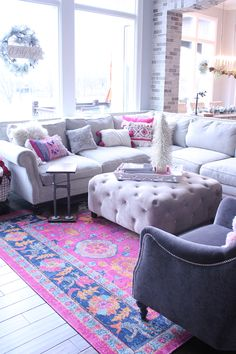 A colorful, textured rug can add so much coziness and beauty to any room! Our new living room rug has fuschia, blues, and orange. Rugs In Living Room, Living Room Designs, Living Room Decor, Dining Room, Small House Decorating, Decorating Tips, Comfortable Living Rooms, White Couches, Rug Texture
