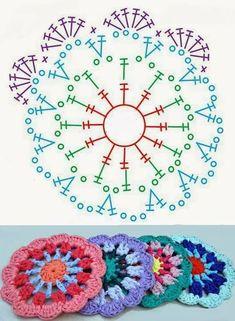 Motif Mandala Crochet, Crochet Coaster Pattern, Granny Square Crochet Pattern, Crochet Granny, Crochet Doilies, Dishcloth Crochet, Crochet Afghans, Crochet Squares, Crochet Blankets