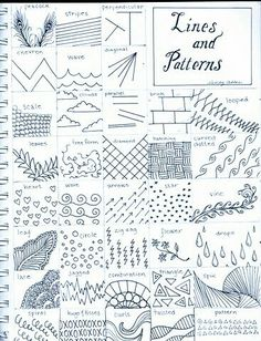 To Draw: Zentangle inspiration [Teaching art] Doodle Patterns, Zentangle Patterns, Line Patterns, Middle School Art, Art School, High School, Classe D'art, Art Handouts, Art Worksheets