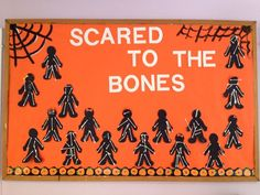 Halloween bulletin board idea where students create skeletons.