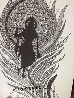 Items similar to Lord Krishna on peacock feather home decor art print. on Etsy Buddha Drawing, Doodle Art Drawing, Buddha Art, Mandala Drawing, Pencil Art Drawings, Art Drawings Sketches, Dancing Drawings, Mandala Artwork, Lord Krishna Sketch