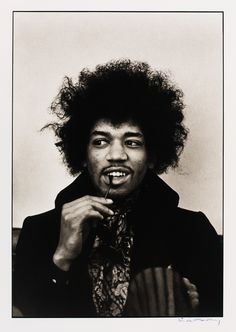 Picture of Jimi Hendrix in the center of the frame, looking off to the side. 1967. Photo by Linda McCartney. Collection: National Portrait Gallery for the Smithsonian.