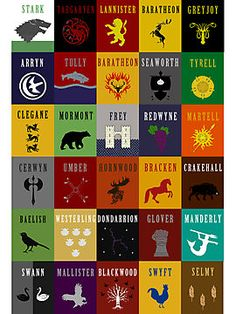 This would be cool for the backing of the denim quilt I plan to make. Game of Thrones House Sigils by iamthevale