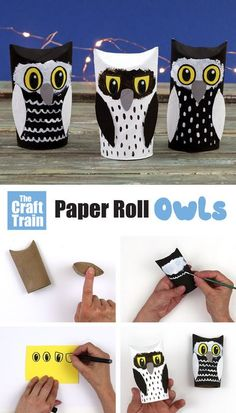 Simple paper roll owl craft for kids of all ages. Make this adowrable owl craft from an upcycled paper towel roll – so cute! | Winter Animal Crafts for Kids #kidscrafts #kidsactivities #paperrollcrafts #woodlandanimalcrafts #animalcraftsforkids
