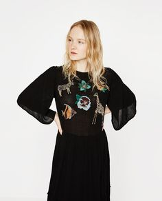 Image 3 of ANIMAL EMBROIDERED LONG DRESS from Zara