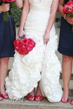 Navy Blue and Coral Wedding. I love the idea of colorful shoes under the white dress! I would do matte navy blue on my toes!