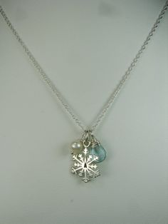 SNOWFLAKE necklacePersonalized initial and birthstoneWINTER