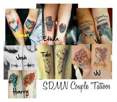 SDMN Couple tattoo by dearbhla-doherty on Polyvore featuring couple, tattoo, sidemen, SDMN and CoupleTattoo