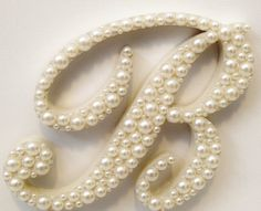 Script Pearl Monogram Cake Topper - White or Ivory Pearls